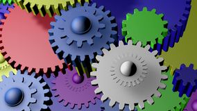 Many gears in different colors stock footage
