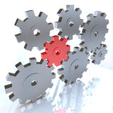 Many Gears Turning Together, One in Red Royalty Free Stock Photo