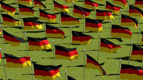 Many German flags in green field. Royalty Free Stock Images