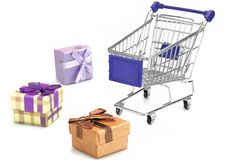 Many Gift Box And Empty Shopping Cart Isolated On White Royalty Free Stock Photo