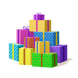 Many gift box, Mountain of Gifts. Vector illustration Stock Image