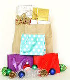 Many gift boxes and colorful shopping bags Stock Photo