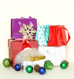 Many gift boxes and colorful shopping bags Stock Image