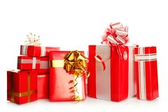 Many gift boxes of different sizes Royalty Free Stock Photos