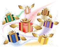 Many gift boxes fly on a holiday Stock Photos