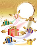 Many gift boxes fly on a holiday Stock Image