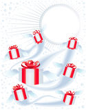 Many gift boxes fly on a holiday Royalty Free Stock Images