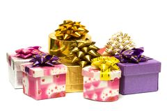 Many gift boxes isolated Royalty Free Stock Photography