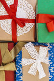 Many of gift boxes isolated top view Royalty Free Stock Image