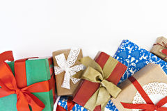 Many of gift boxes isolated top view Royalty Free Stock Images