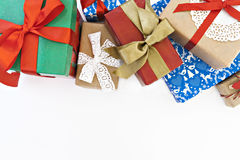 Many of gift boxes isolated top view Royalty Free Stock Photos
