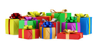 Many gift boxes isolated on white Royalty Free Stock Photo
