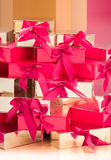 Many gift boxes pile up Royalty Free Stock Photo