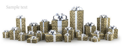 Many gift boxes with ribbon. On white background 3D render ( high resolution Stock Images