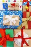Many of gift boxes  top view Royalty Free Stock Photo