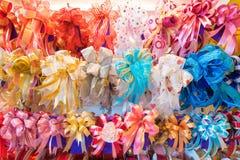 Many gift decorative bows Royalty Free Stock Photo