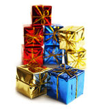 Many gifts. In the boxes on a white background. Card design with presents Royalty Free Stock Photos