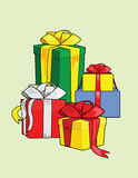 Many gifts. A few gifts on a light green background Royalty Free Stock Photos