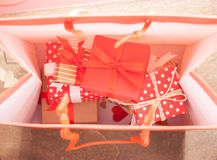 Many gifts in bag Stock Photography