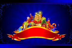 Many gifts on blue background with candles Royalty Free Stock Images
