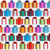 Many gifts collection presents Christmas background square birth stock photo