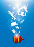 Many gifts floating from gift box. For festival and celebrate Stock Images