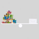 Many gifts and a letter balance. 3D Royalty Free Stock Images