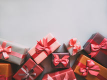 Many gifts. View from above with copy space royalty free stock photography