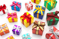 Many gifts on white background. Stock Photography