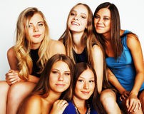 Many girlfriends hugging celebration on white background, smilin Royalty Free Stock Images