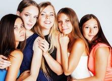 Many girlfriends hugging celebration on white background, smilin Royalty Free Stock Image