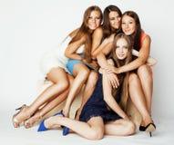 Many girlfriends hugging celebration on white Stock Photo