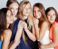 Many girlfriends hugging celebration on white Royalty Free Stock Image