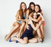Many girlfriends hugging celebration on white Stock Image