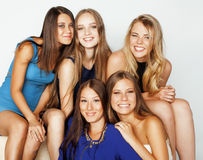 Many girlfriends hugging celebration on white Royalty Free Stock Photos