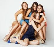 Many girlfriends hugging celebration on white Stock Photos