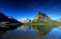 Many Glacier 2. Swiftcurrent Lake with Mt Grinnell at Many Galcier, Glacier National Park, Montana, USA Royalty Free Stock Image