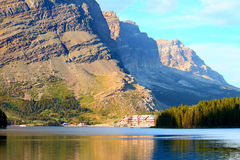 Many Glacier Hotel on Swiftcurrent Lake Stock Photos