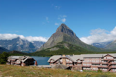 Many Glacier Lodge at Swiftcurrent Lake. Many Glacier Lodge in Glacier National Park stock photography