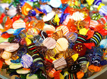 Many glass candy created handmade by a Murano artist near Venice Royalty Free Stock Photos