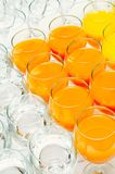 Many glasses on buffet table Royalty Free Stock Photo
