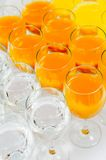 Many glasses on buffet table Stock Photos