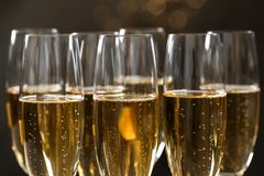 Many glasses of champagne stock images
