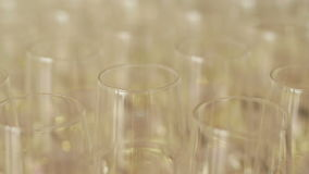 Many glasses of champagne on new year party. Champagne. Two Flutes with Sparkling Champagne over Holiday Bokeh Blinking Background stock footage