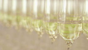 Many glasses of champagne on new year party. Champagne. Two Flutes with Sparkling Champagne over Holiday Bokeh Blinking Background stock video footage