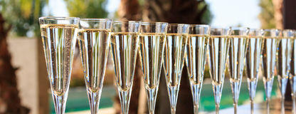 Many glasses of champagne or prosecco near resort pool in a luxu Royalty Free Stock Photo