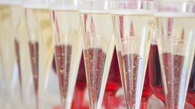 Many glasses of champagne on the table Stock Photos