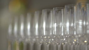 Many glasses of champagne on the table stock footage