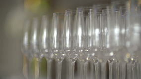 Many glasses of champagne on the table. At the new year party stock video footage