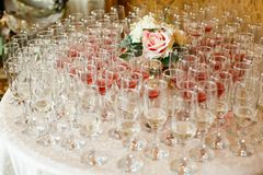 Many glasses of champagne and wine Royalty Free Stock Image